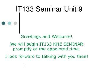 IT133 Seminar Unit 9