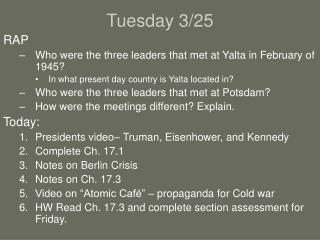 Tuesday 3/25