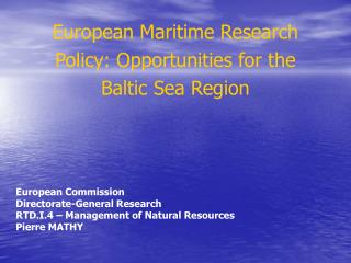 European Maritime Research Policy: Opportunities for the Baltic Sea Region
