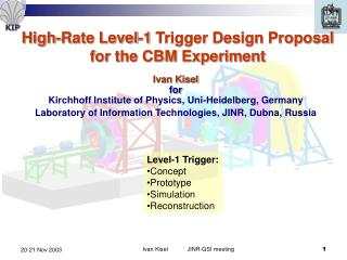 High-Rate Level-1 Trigger Design Proposal for the CBM Experiment