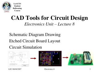 CAD Tools for Circuit Design  Electronics Unit   Lecture 8