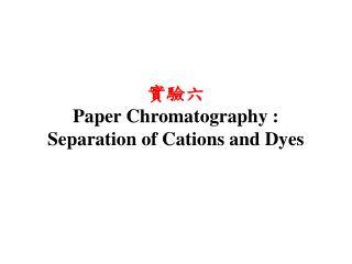 實驗六 Paper Chromatography : Separation of  Cations  and Dyes