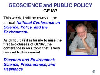 GEOSCIENCE and PUBLIC POLICY GE187