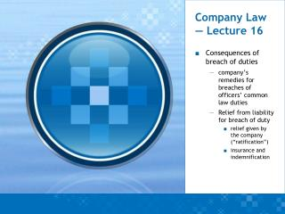 Company Law — Lecture 16