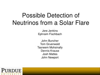 Possible Detection of Neutrinos from a Solar Flare