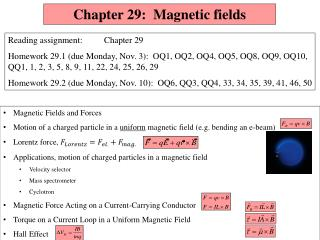 Chapter 29:  Magnetic fields