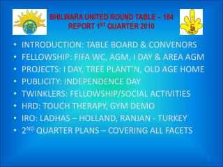 BHILWARA UNITED ROUND TABLE – 184 REPORT 1 ST  QUARTER 2010
