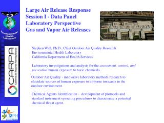 Large Air Release Response  Session I - Data Panel  Laboratory Perspective Gas and Vapor Air Releases