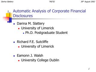 Automatic Analysis of Corporate Financial Disclosures