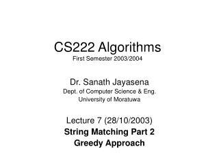 CS222 Algorithms First Semester 2003/2004