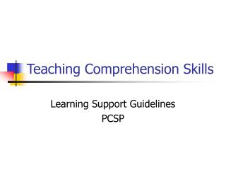 Teaching Comprehension Skills