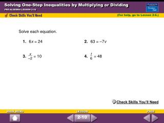 Solving One-Step Inequalities by Multiplying or Dividing