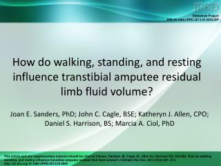 How do walking, standing, and resting influence transtibial amputee residual limb fluid volume?