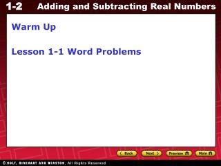 Warm Up Lesson 1-1 Word Problems