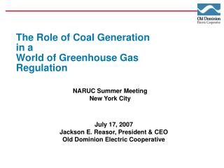 The Role of Coal Generation in a World of Greenhouse Gas Regulation