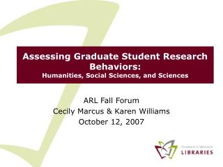 Assessing Graduate Student Research Behaviors: