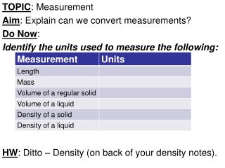 TOPIC : Measurement Aim : Explain can we convert measurements? Do Now :