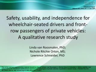 Linda van Roosmalen, PhD;  Nichole Ritchie Orton, MS;  Lawrence Schneider, PhD