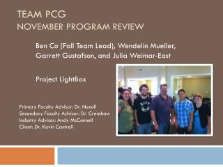 Team PCG November Program Review