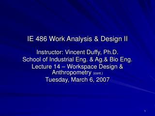 IE 486 Work Analysis & Design II