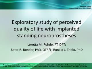 Exploratory study of perceived quality of life with implanted standing neuroprostheses