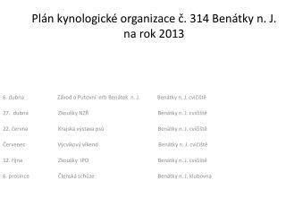 Plán kynologické organizace č. 314 Benátky n. J. na rok  2013