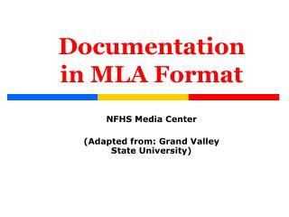 Documentation in MLA Format