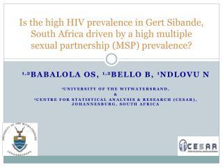 1,2 BABALOLA  OS,  1,2 Bello B,  1 Ndlovu n  1 University of the Witwatersrand,  &