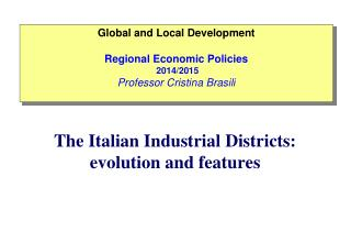The  Italian  Industrial  Districts :  evolution  and  features