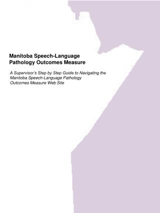 Manitoba Speech-Language  Pathology Outcomes Measure