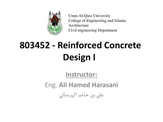 803452  - Reinforced Concrete  Design I