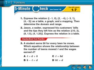 Lesson 1-7 Glencoe Algebra 1