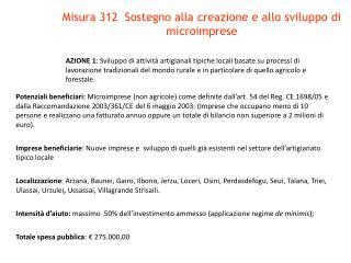 Misura 312  Sostegno alla creazione e allo sviluppo di microimprese