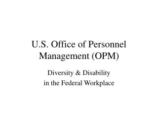 U.S. Office of Personnel Management OPM