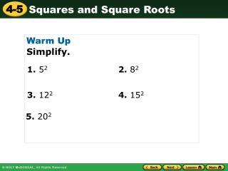 Warm Up Simplify.