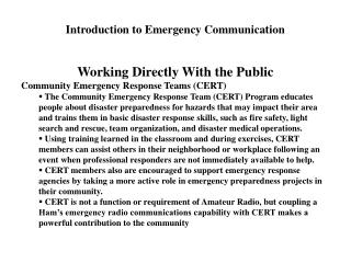 Introduction to Emergency Communication