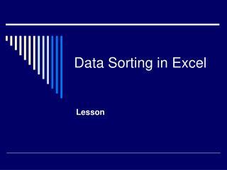 Data Sorting in Excel