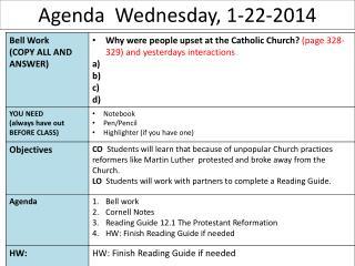 Agenda  Wednesday, 1-22-2014