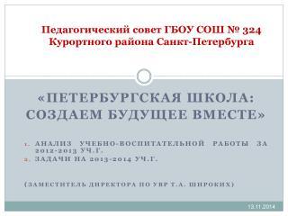 Педагогический совет  ГБОУ  СОШ № 324 Курортного района Санкт-Петербурга