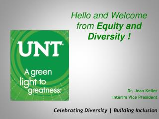 Hello and Welcome from  Equity and Diversity !