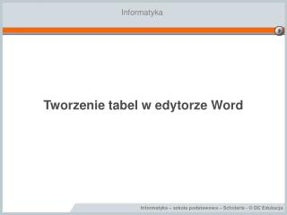 Tworzenie tabel w edytorze Word
