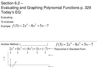 Section 6.2 – Evaluating and Graphing Polynomial Functions p. 329 Today's EQ: