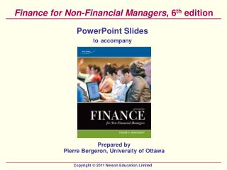 Finance for Non-Financial Managers , 6 th  edition