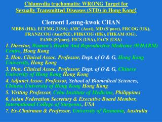 Chlamydia trachomatis: WRONG Target for  Sexually Transmitted Diseases (STD) in Hong Kong!