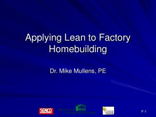 Applying Lean to Factory Homebuilding