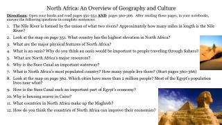 North Africa:	An Overview of Geography and Culture