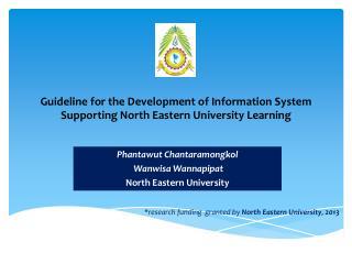 Phantawut Chantaramongkol Wanwisa Wannapipat North Eastern  University