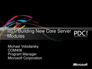 IIS7: Building New Core Server Modules