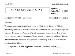 802.18 Motion to 802.11