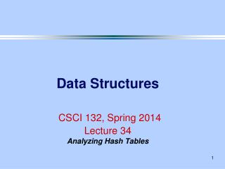 Data Structures CSCI 132, Spring 2014 Lecture 34 Analyzing Hash Tables